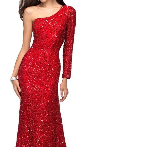 Dresses Red Sequin Cold Shoulder Formal Dress Poshmark